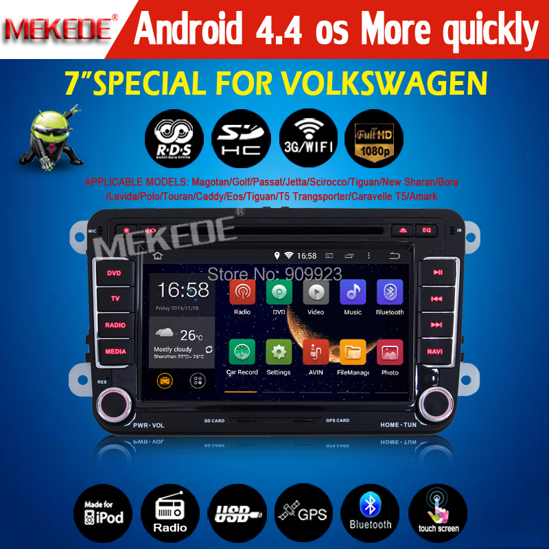 Free 8GB card+ Pure Android 4.4 OS CAR DVD /cassette player for VW Polo Tiguan Golf with 3G wifi Capacitive screen faster(China (Mainland))