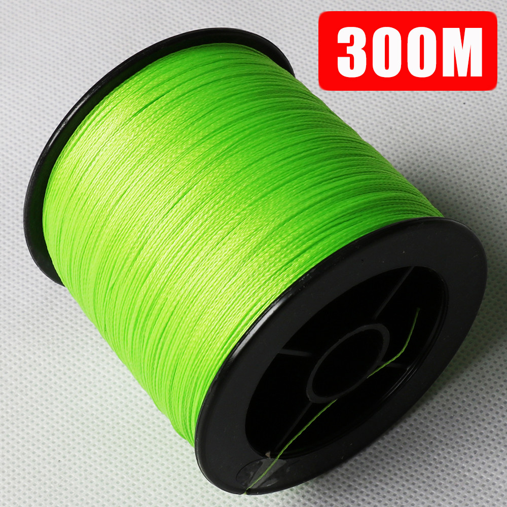Fluorescent green 300m 330yards spectra 4 strand super for Fluorescent fishing line