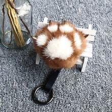Cores Bonito Da Pata Do Gato 13 Pompom Saco Chaveiro Carro Chaveiro 100% Pele de Vison Real Senhora das Mulheres Fofo Pingente Acessórios frete Grátis(China)