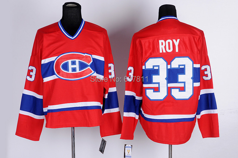 Cheap Montreal Canadiens Vintage Hockey Jerseys #33 Patrick Roy Jersey Throwback CCM Home Red Stitched