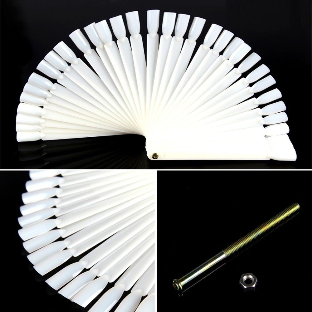 50Pcs Nail Art False Tips Sticks Practice Display Fan Board Design Tools G6721