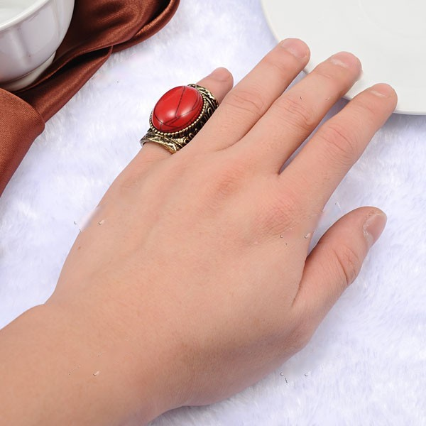 CosyLife Antique Bronze Color Finger Ring Finger Ornament Jewelry with Big Red Pearl for Women Flower DJA-260160(China (Mainland))