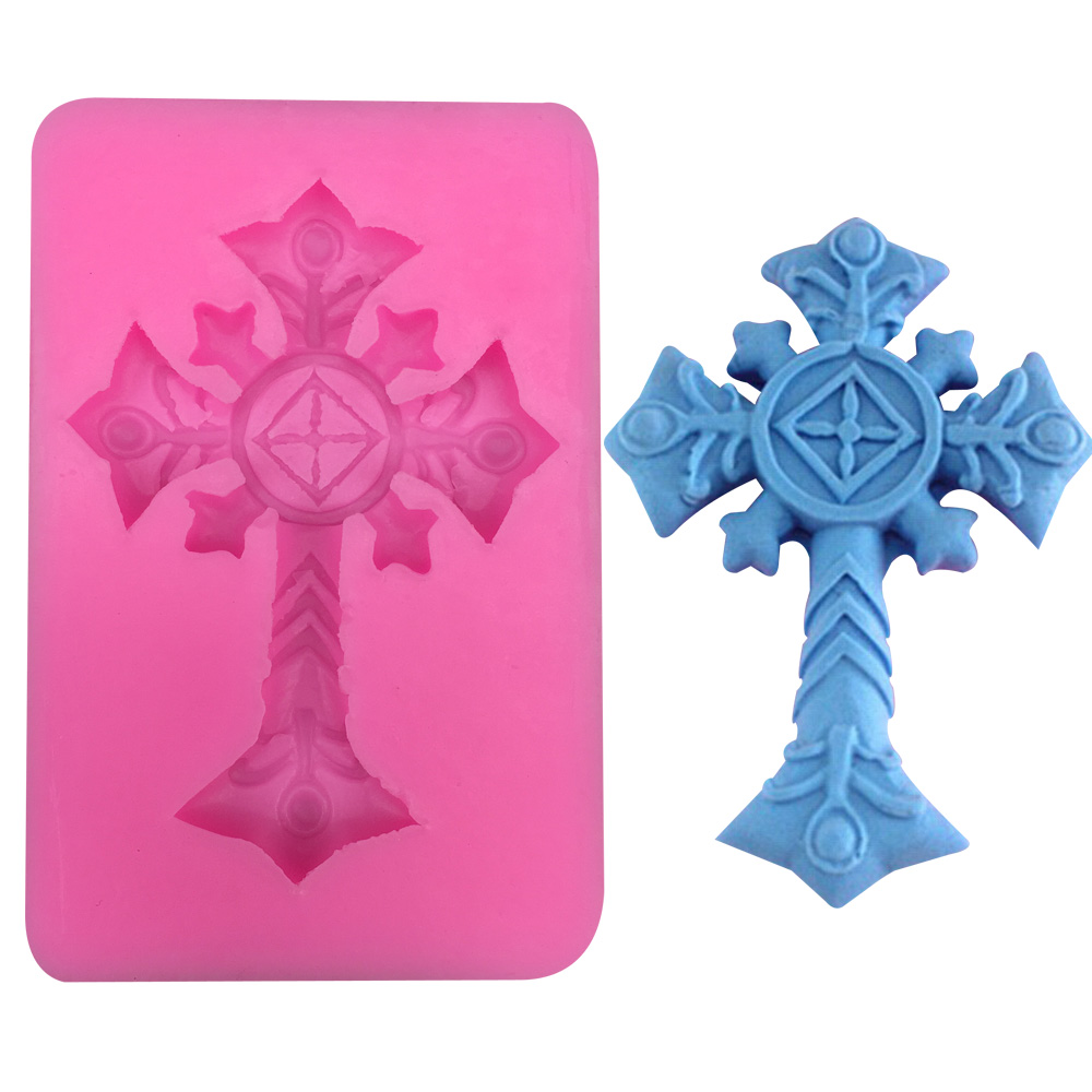 Free shipping DIY cross fondant cake decoration silicone soap mold cooking tools West Point FT-354(China (Mainland))