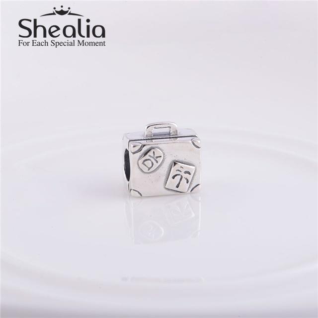 Стерлингового серебра 925 чемодан темы бусины DIY ремесло изготовления ювелирных изделий подходит европейский стиль марка подвески браслеты