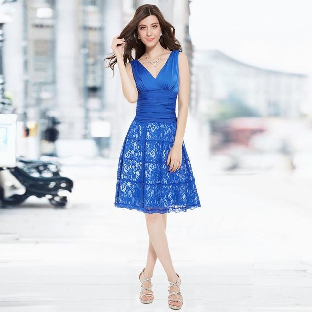 Короткие свободного покроя платья HE03859BL женщина без рукавов двойной V - образным ...