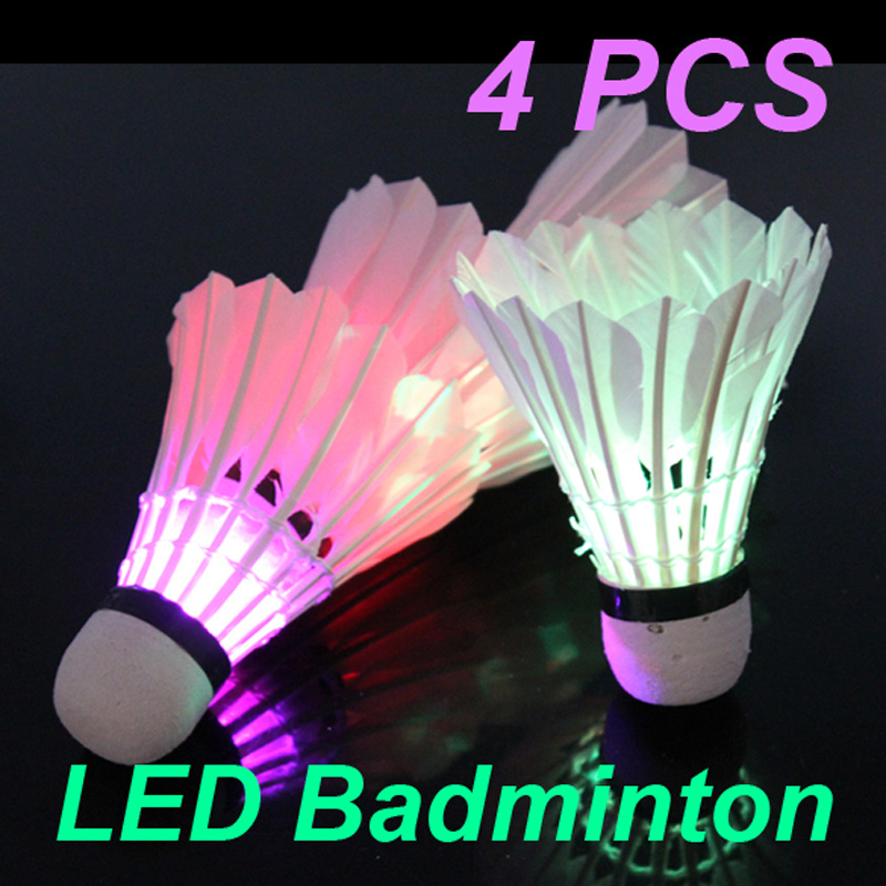 Hot Sale 4 Pcs Colorful LED Badminton Shuttlecock Bright In Night Outdoor Entertainment Sport Accessories In Night Free Shipping(China (Mainland))