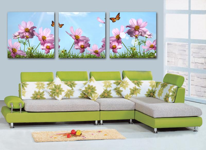 Free shiping High Quality 3 pieces sunflowers combination modern oil painting wall pictures for living room wall art LKB-ZH-176(China (Mainland))
