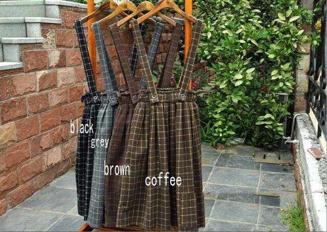 4 Цветs-- Vintage thickening mori girl plaid brace skirt belt autumn winter