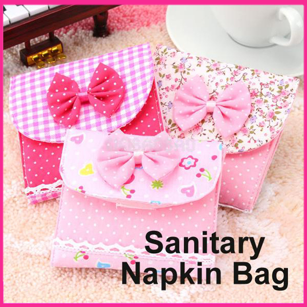 Girl/Women high quality cotton fabric sanitary napkin bag sanitary napkin package Organizer Sanitary Napkins storage bag(China (Mainland))