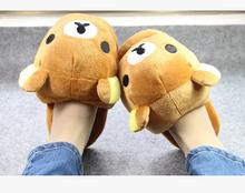Super cute soft plush winter warm big head Rilakkuma bear home indoor slippers,floor slipper,creative Christmas&birthday gift(China (Mainland))