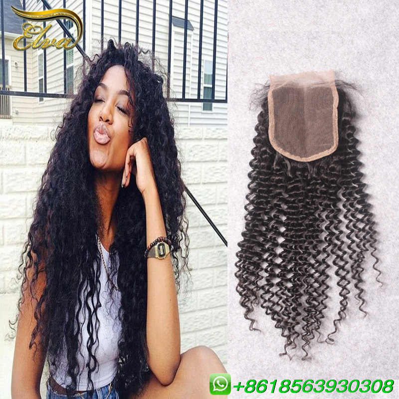7A Grade Peruvian Deep Curly Virgin Hair With Closure Free / Middle / 3 Part Lace Closure 4x4 Size Swiss Lace Closure<br><br>Aliexpress