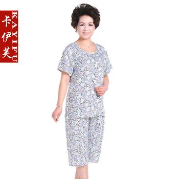 The elderly women's summer short-sleeve T-shirt set quinquagenarian set summer