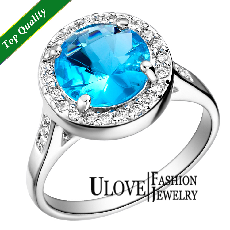 No Minimum Ulove 925 Sterling Silver Rings 2014 New Full CZ Zircon Blue Rings Best Selling For Women Free Shipping J075(China (Mainland))