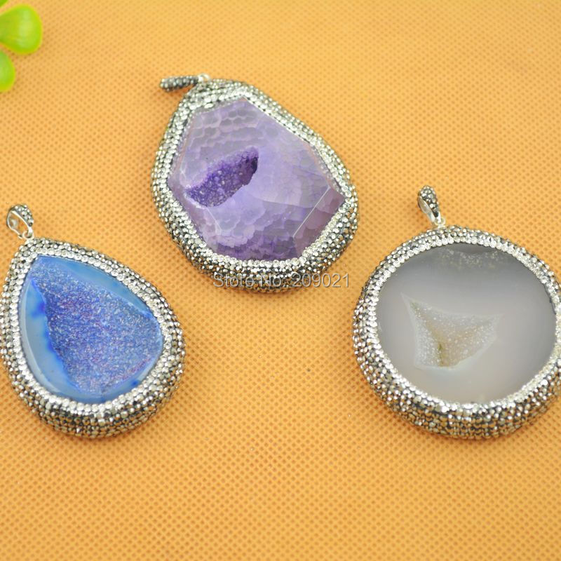 Fashion 5Pcs Mixed Color Natural Druzy Drusy Quartz Geode Agate With Pave Crystal Rhinestone Charms Pendant Jewelry Finding(China (Mainland))