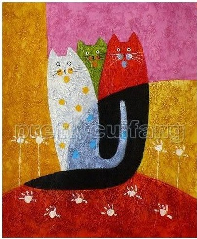 Hand Wall Art Modern Abstract Cat Animal Oil Paintings On Canvas Pbf109 100% pure hand-painted(China (Mainland))