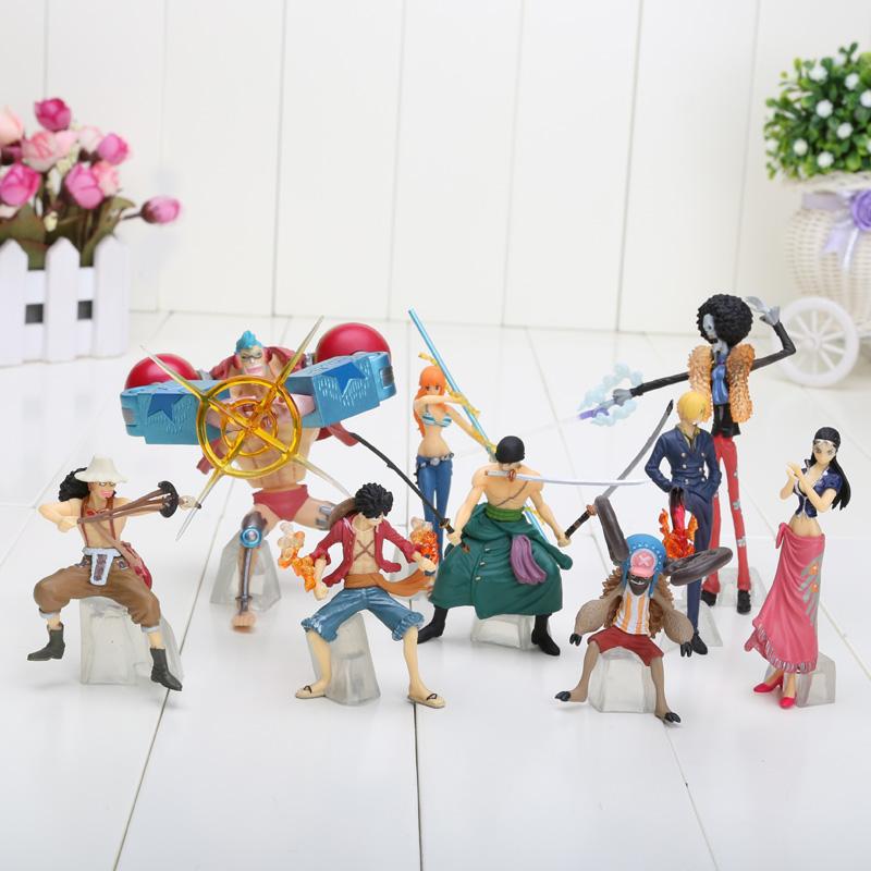 9pcs/set 3.1''-4.7'' Anime One Piece Figures Dolls Toys 2 Years Later Large Doll Model(China (Mainland))