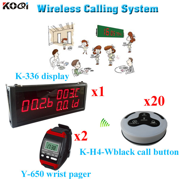 Waiter Calling System Restaurant Service Equipment Pager Customer Calling Button(1 display 2 wrist watch 20 call button)(China (Mainland))