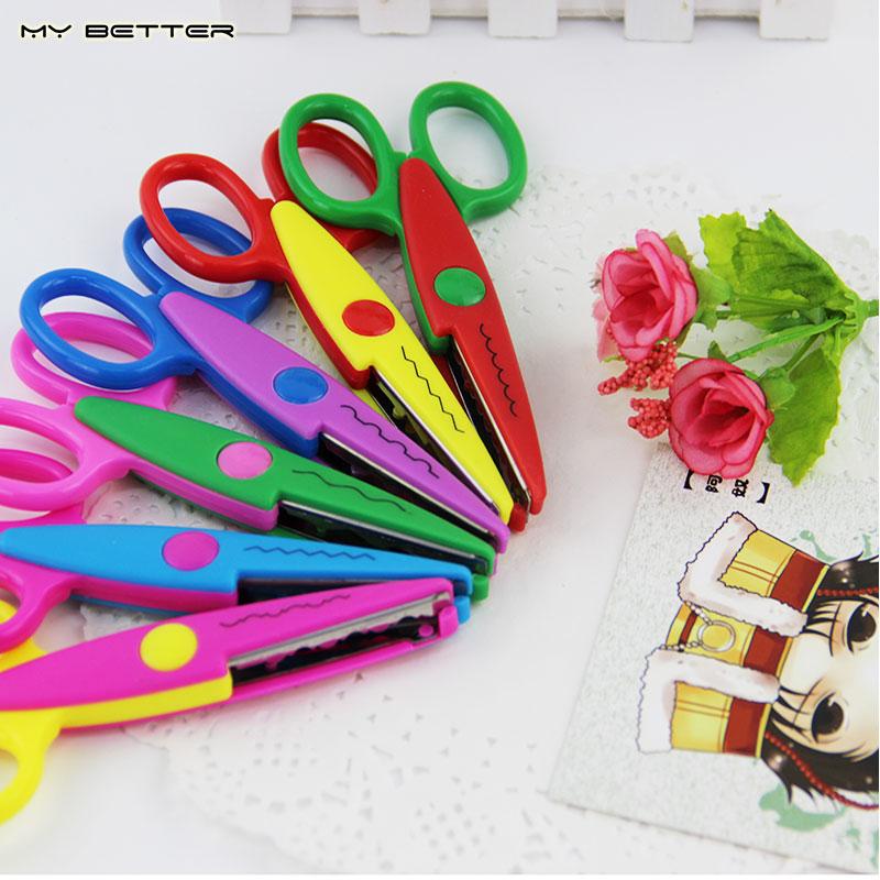 Kids Laciness Scissors for DIY Photo Album Handmade, 6 Patterns Photo Album Card Photo Diary Decorative Laciness Scissors(China (Mainland))