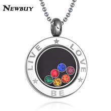 NEWBUY Brand 316L Stainless Steel High Quality Colourful Crystal Women Necklace Jewelry Wholesale