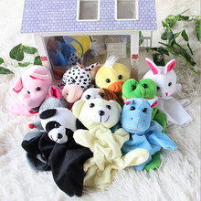 Hot Sales 10pcs  Cartoon Biological Animal Finger Puppet Plush Toys Dolls Child Baby Favor Free shipping(China (Mainland))