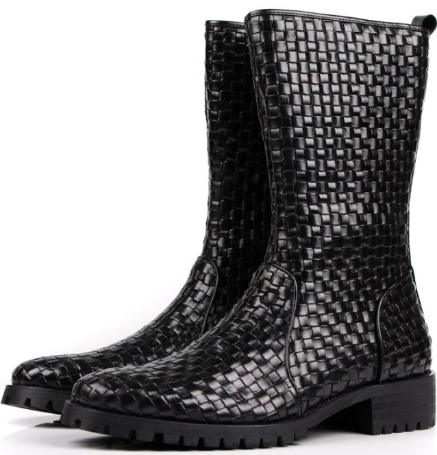 SUPER COOL brand black mens boots genuine leather mens autumn boots Woven Design Checkered mens knee high boots<br>