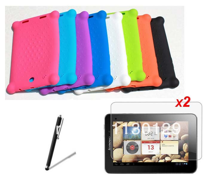 """Anti-Skid Soft Silicone Rubber Skin Case + 2* Matte Films + Stylus For Lenovo IdeaTab A2107 A2107A A2207 7"""" Tablet Free Shipping(China (Mainland))"""