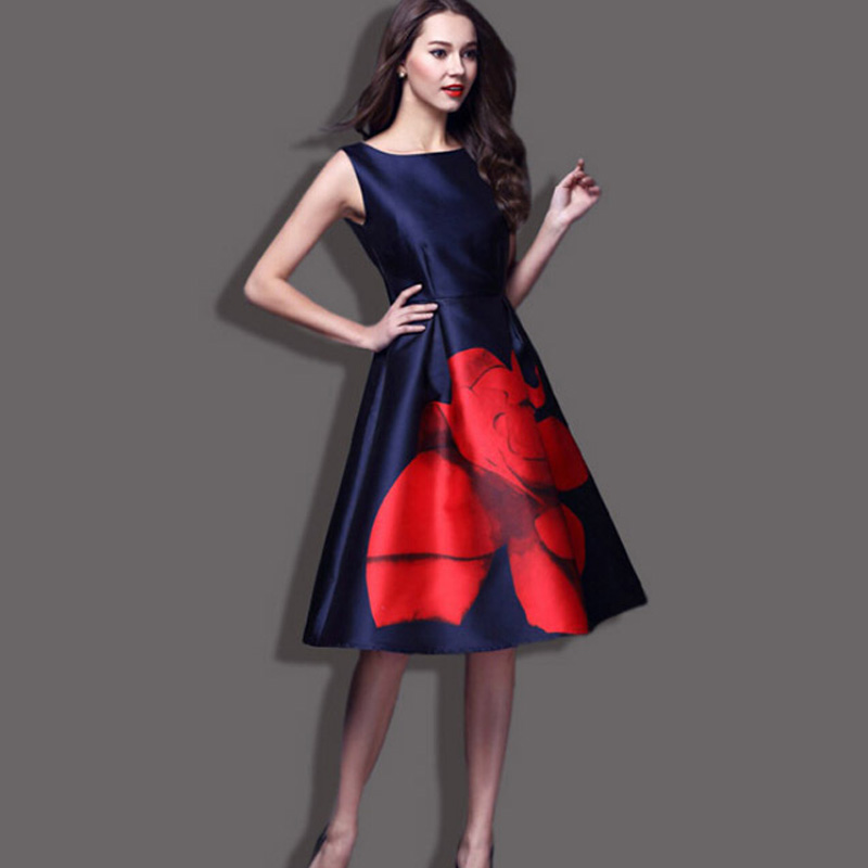 The new spring and summer 2015 European major suit printed long dress fashion high-end dress dress code