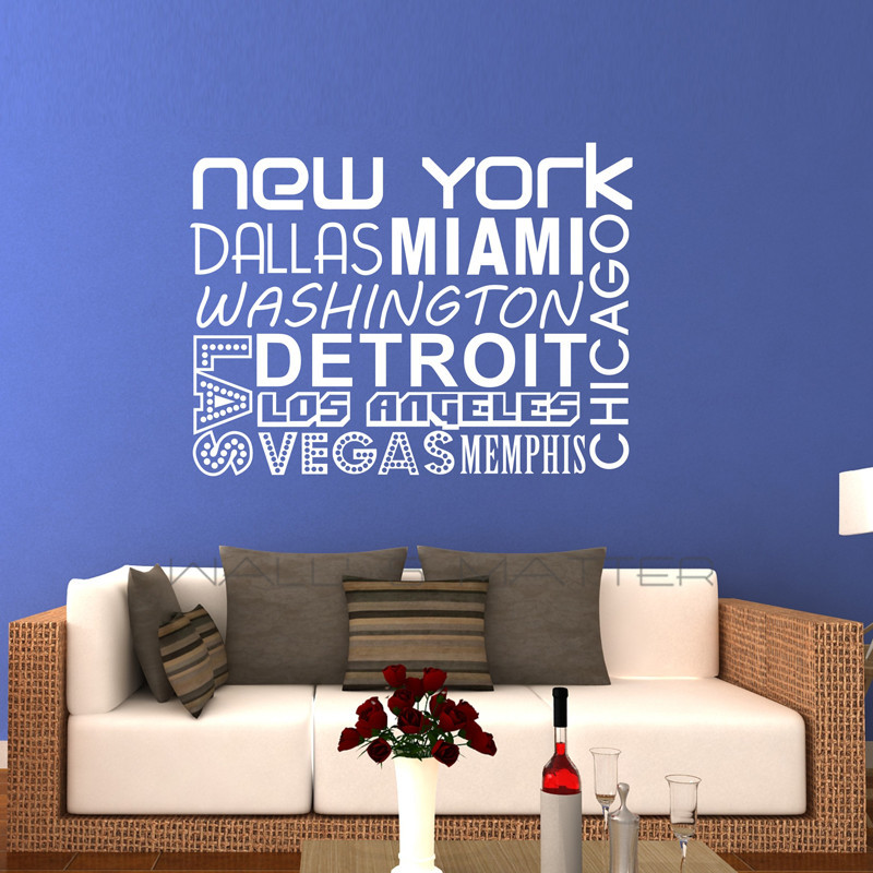New york quality vinyl black wall sticker sentences love for Living room decor quotes