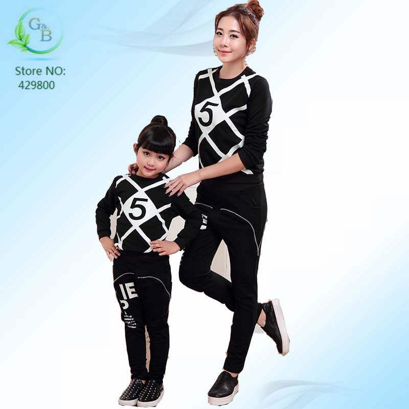 006 Autumn High Fashion Family Look Girl and Mother Sport ...