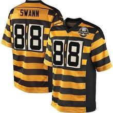 Men's #88 Lynn Swann Elite YellowBlack Alternate 80TH Anniversary Throwback Jersey 100% Stitched(China (Mainland))