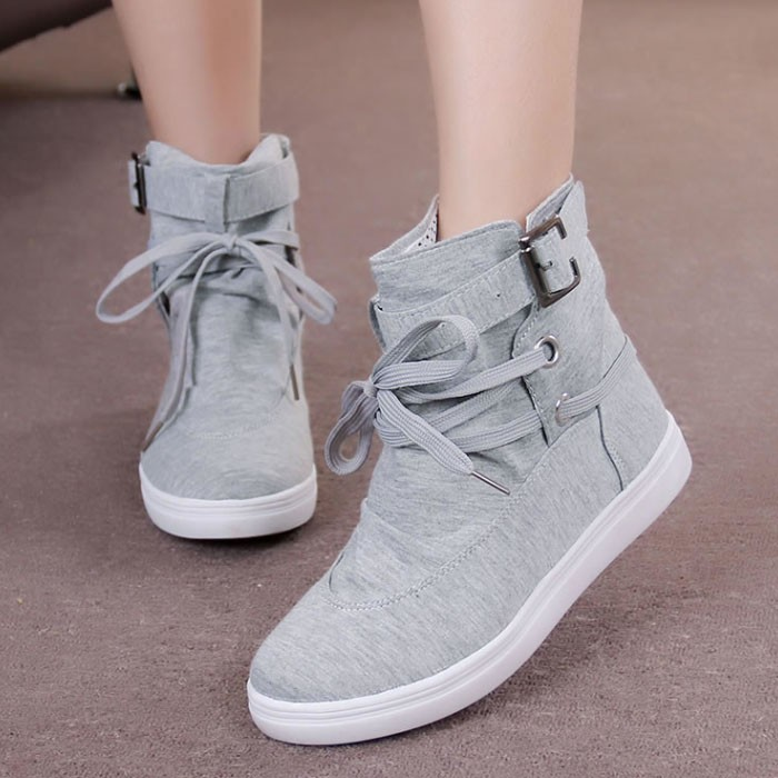 2016 New Black Gray Round Toe Platform Casual High-top Canvas Shoes Woman Lace Student Flat Ankle Boots Botas O098 - Shanghai YR Co, Ltd store
