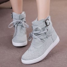 2016 New Black Gray Round Toe Platform Casual High-top Canvas Shoes Woman Lace Up Shoes Student Flat Ankle Boots Botas O098