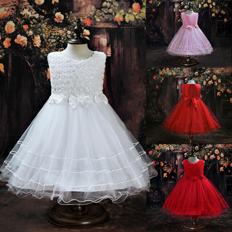 Kids Girl Dress Rose Petal Bow Baby Girl Princess Dress 2-8 Years Children Wedding Birthday Party Clothes vestidos de menina(China (Mainland))