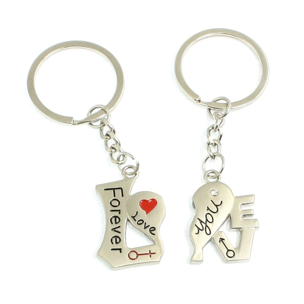 1Pair Couple Keychain Heart Love Lettering Keyring Valentine's day Lover Key Fob Birthday Gift(China (Mainland))