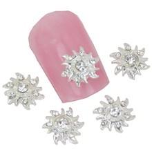2015 New Design Glitter 3D Alloy Nail Art Rhinestone Sun Flower Nail Charm Decoration Accessories Styling Tool Supplies MA0195