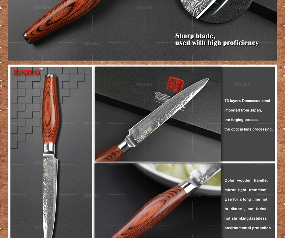 "Buy 2016 NEW 5"" Multi-purpose knife Damascus kitchen knives utility cutter kitchen knife damascus steel utility knife FREE SHIPPING cheap"