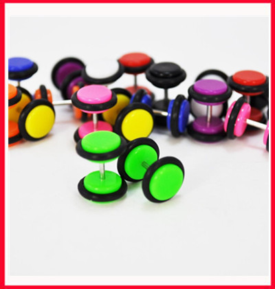 Fashion fake ear piercing() Free shipping mix 9 colors 200pcs/lot acrylic candy color body piercing jewelry ear plug