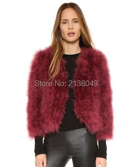 FC01301 Мода V шеи много цветов Пушистый Турция Перо Мех Куртки перо куртки