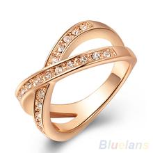Women's Austrian Crystal 9K Rose Gold Plated Rhinestone Wedding Jewelry X Ring  1OMM(China (Mainland))