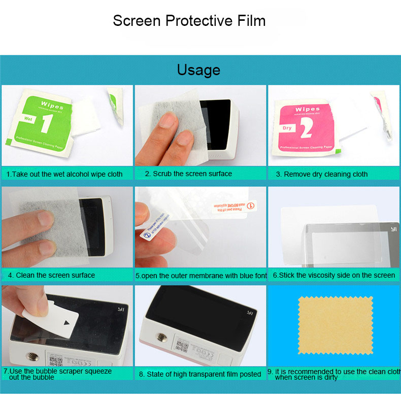 Kingma Screen Protective Film For Xiaomi yi 2 4K Protect Camera Screen LCD Display For Xiaomi Yi 4k Action Camera 2 Accessories
