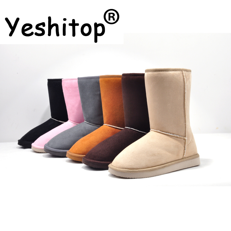 YESHITOP Brand 2016 Fashion 24cm Height Winter women snow boots for Lady & Beige,Black,Gray,Coffe,Pink,Blue,Red,Brown
