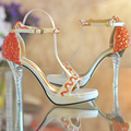 women open toe high heeled platform shoes orange beaded ultra Summer Dress shoes Bridal Wedding Shoes