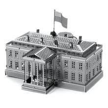 Белый Дом 3D Металлические Головоломки DIY Нержавеющей Стали Ассамблеи Американский Модели Здания Архитектуры Игрушка Магнитная Головоломка Детские Игрушки