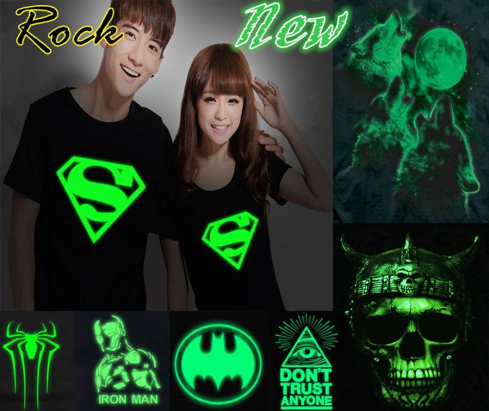 Sale Men Hip Hop Tshirt Wolf Spider Iron Superman Rock Punk Tee Night Light Neon Hip-hop Print Tshirt club Novelty T Shirt(China (Mainland))