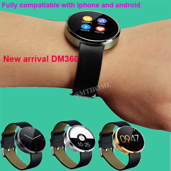 Newest DM360 Heart rate monitor Smartwatch full compatible for iphone & Android smartphone IPS Screen Camera Health Tracker