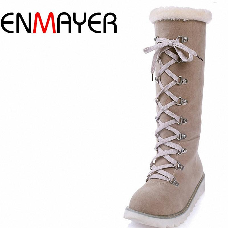 ENMAYER Beige Orange Army green three colors solid knot fashion boots platform round toe winter boots mid calf flock women boots