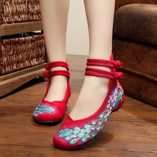 29 Colors Fashion Women's Shoes Old Peking Mary Jane Flat Heel Denim Flats with Embroidery Soft Sole Casual Shoes Plus Size 41(China (Mainland))