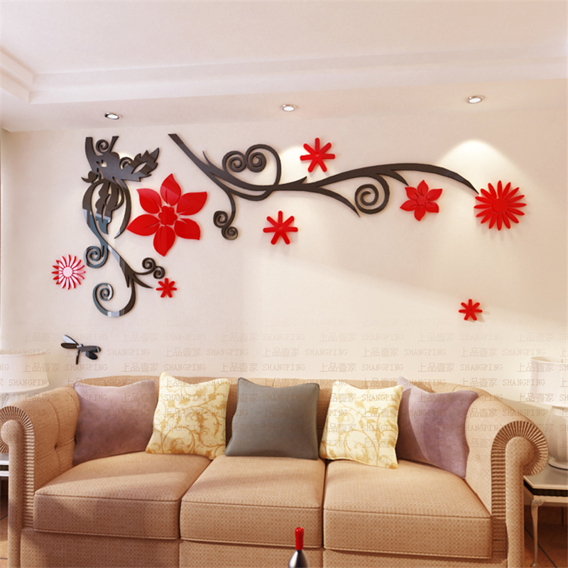 3d Stereo Flower Vine Acrylic Crystal Wall Stickers Home Decor Diy Mirror Wall Sticker Tree