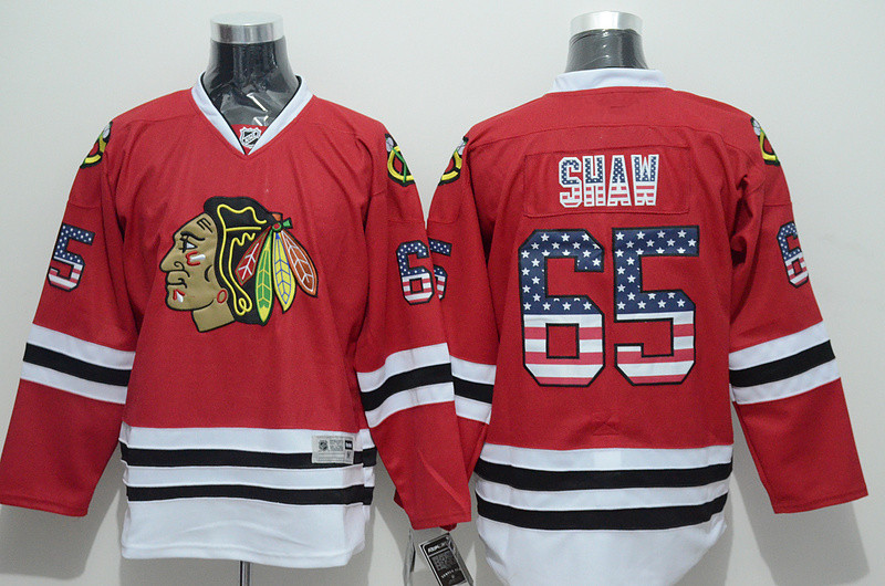 Chicago Black hawks #65 Andrew Shaw Men's NHL Jersey Limited Flag Edition Ice Hockey Jersey 100% Stitched Logos Free Shipping