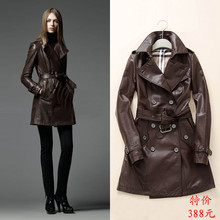2015 autumn and winter double breasted medium-long women's genuine leather clothing trench sheepskin leather clothing outerwear(China (Mainland))